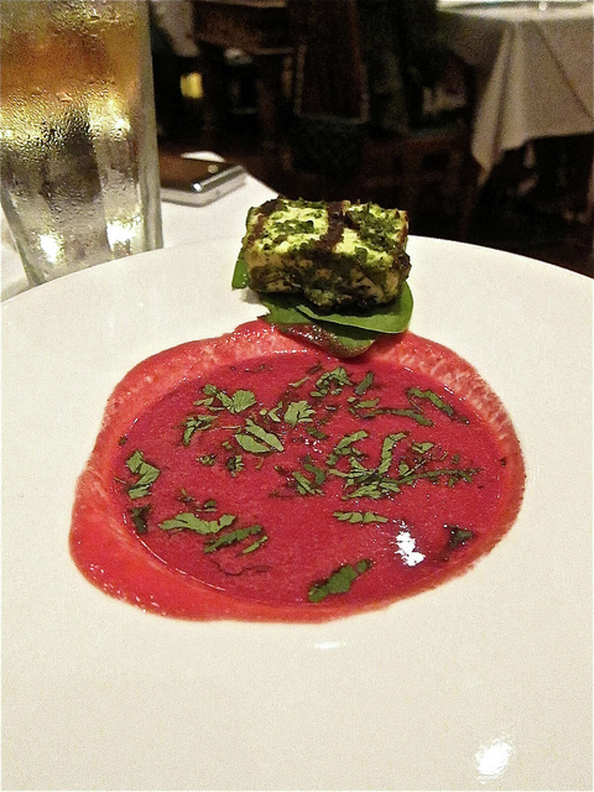 Beet soup with a paneer cutlet at Indika. Photo by Alison Cook