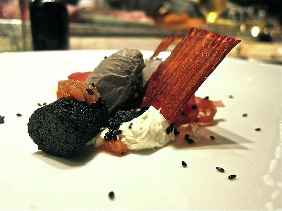 Black-sesame sorbet with rhubarb leather and coconut creme fraiche at Uchi.