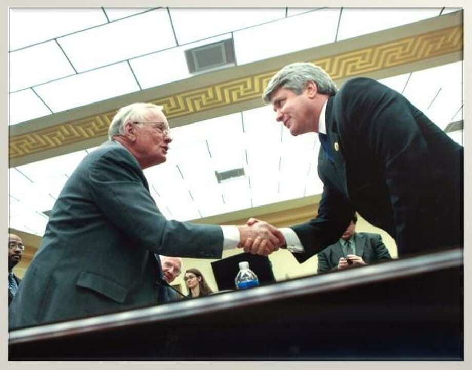 McCaul shakes Neil Armstrong's hand Photo: Congressional Photo