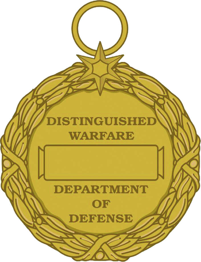 This image released by the Defense Department shows the reverse view of the newly announced Distinguished Warfare Medal. Defense Secretary Chuck Hagel is canceling the creation of a new military medal for drone and cyber warriors, and instead wants military leaders to develop a special pin or device that would be attached to already existing medals or ribbons.  (AP Photo/Department of Defense) Photo: Uncredited