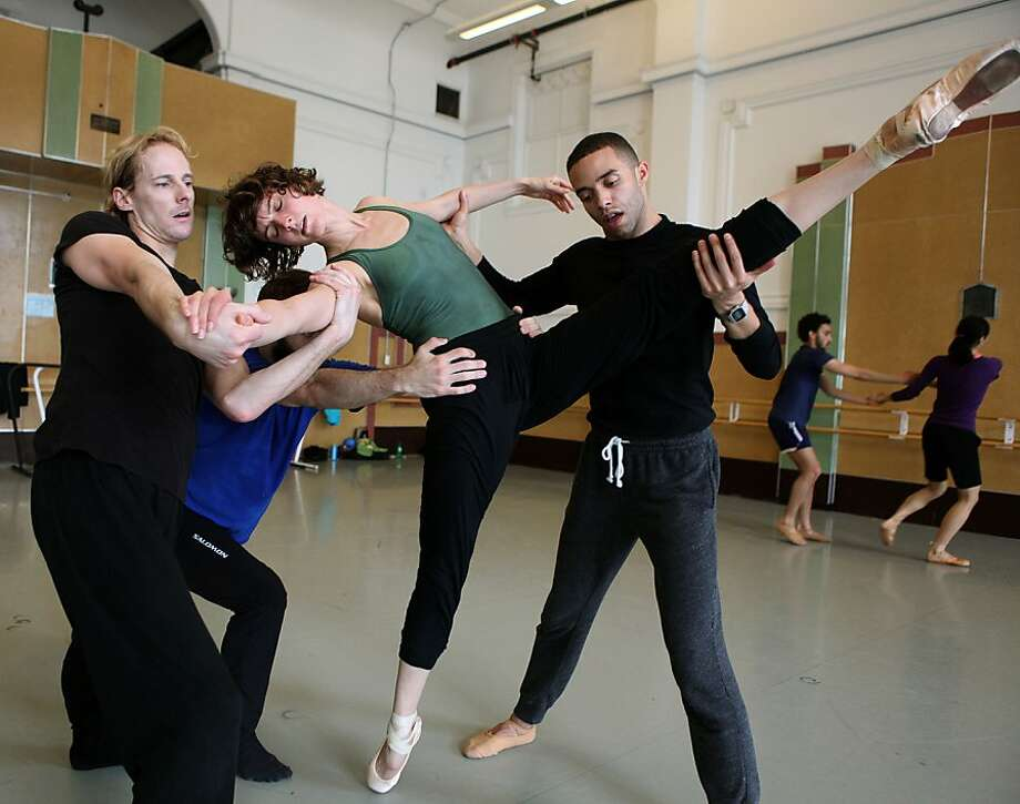Dancers Paul Knobloch (left), David Harvey, Meredith Webster and Ricardo Zayas practice their moves for a work in Alonzo King Lines Ballet company's 30th anniversary season. Photo: Liz Hafalia, The Chronicle