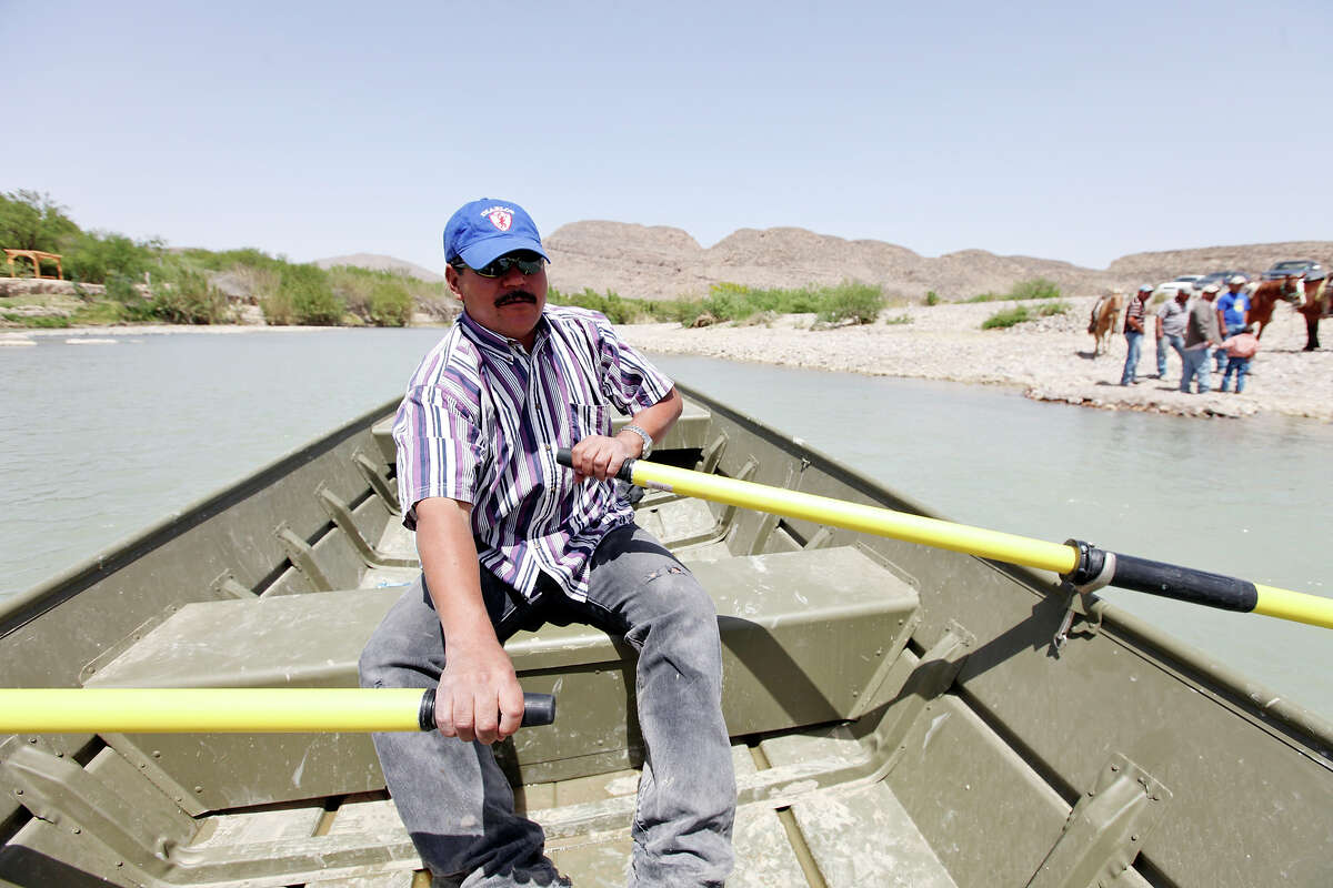 Adrian Valdez Cabello rows across the Rio Grande to Big Bend National Park on Wednesday, now that it's legal again.
