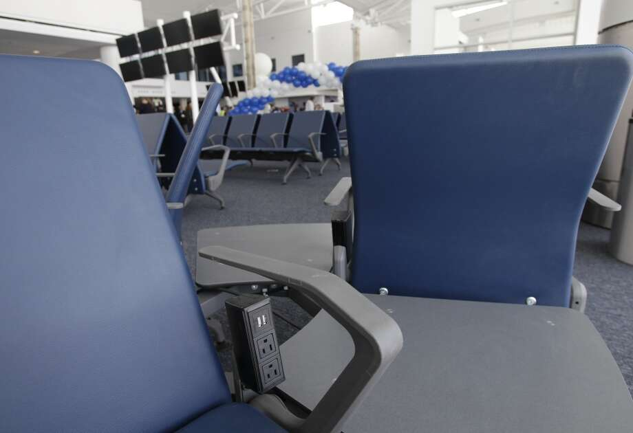 Seating with plenty of electrical plugs to meet passengers\' tech needs.