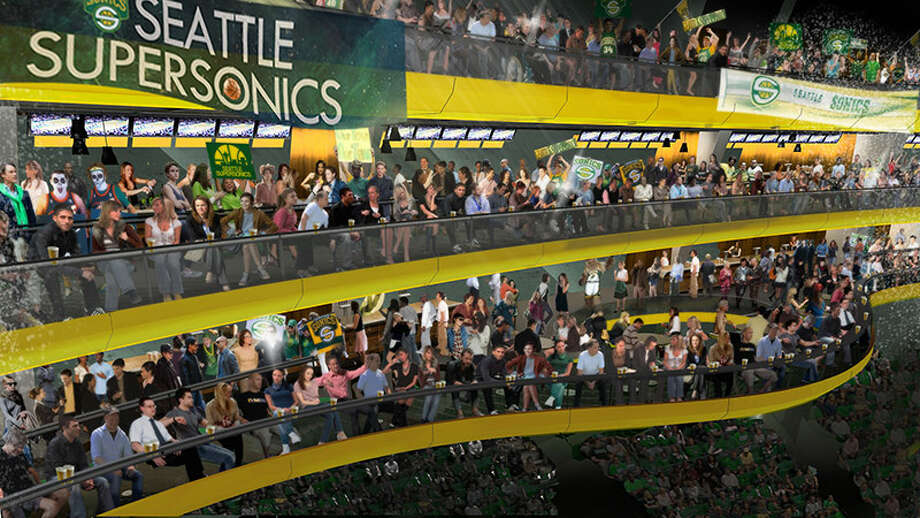 March 29, 2013:Chris Hansen releases more renderings of the planned arena's interior, particularly giving more details about the ''Sonic Rings.'' ''In addition to what is shown in the pictures here,'' Hansen wrote, ''we also plan on having several different themes on each ring, ranging from sports bar style environments and areas dedicated to 'super fans' craving few distractions, to family-themed areas catering to young Sonics fans that still have a hard time sitting in their seats for two hours.''  Photo: Courtesy Image, SonicsArena.com