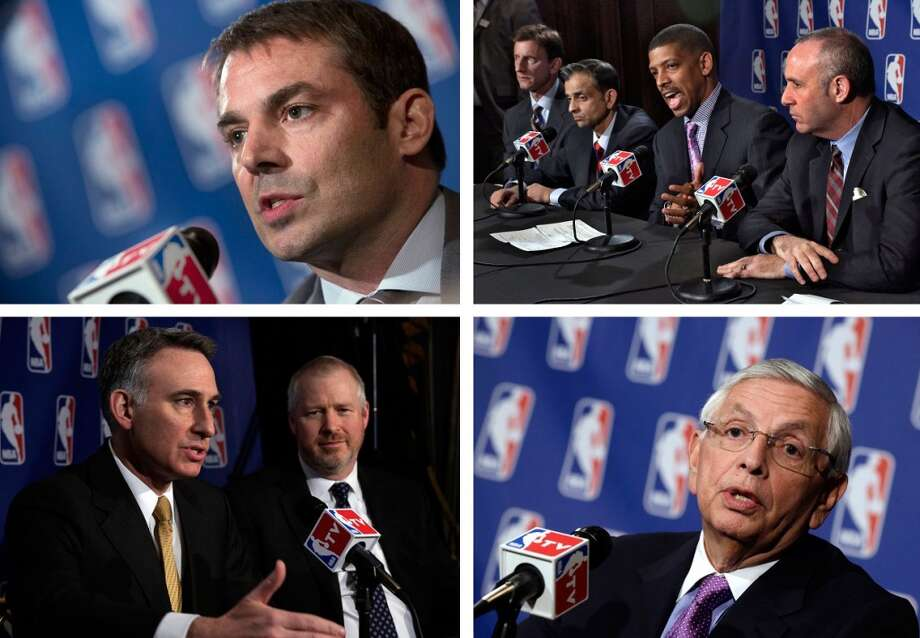 April 3, 2013: The Seattle and Sacramento groups make their formal presentations to the NBA's finance and relocation committees at the St. Regis Hotel in New York City. Here are our main reports:  - Maloofs urge NBA to approve Kings' sale, relocation to Seattle - Chris Hansen: 883 days of work squeezed into 90 min. pitch to NBA - Sacramento mayor after NBA pitch: 'We are playing to win' - NBA commissioner: Decision on Kings sale, relocation could be delayed - King County Council reaffirms arena support in letter to NBA commish - Gallery: Hansen, McGinn, Stern, Bennett at NBA meetings in NYC - Seattle, Sacramento face off in NYC: The basics of their NBA pitches  Photo: Richard Drew Photos, Associated Press
