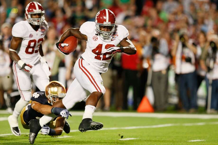 Eddie Lacy, 5-11, 231, 4.59, AlabamaThe best running back in the country last season when the Tide won the national title. He played behind an outstanding offensive line. He's powerful and explosive with good vision. He moves the pile. Knows how to keep his legs churning. He's also a decent receiver who can help in that manner. Should go in the first round.