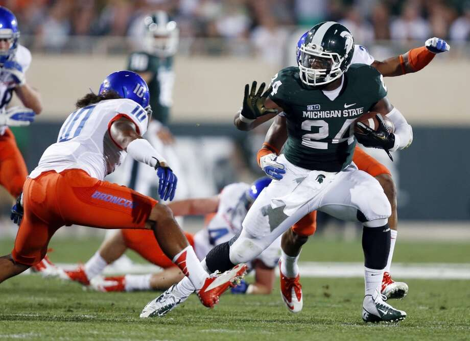 Le'Veon Bell, 6-2, 230, 4.56, Michigan StateA three-year starter who rushed for 1,793 yards and compiled 2,024 all-purpose yards. The largest of the top runners in the draft also has good speed. He's strong but agile and has superb balance. A back his size should be more physical and rely less on finesse moves. He's a good receiver. Should go in the second or third round.