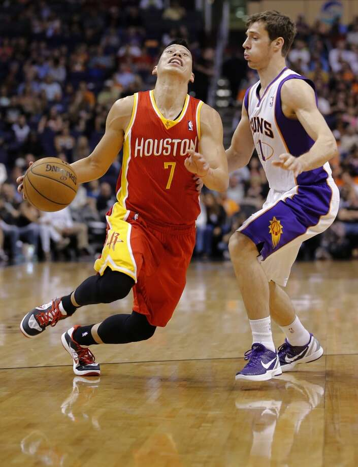 April 15: Suns 119, Rockets 112 Jeremy Lin (7) is fouled by Goran Dragic. Photo: Matt York, Associated Press