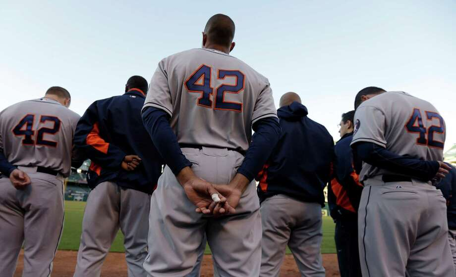 As was the case for personnel on all major league teams Monday, members of the Astros wear No. 42 jerseys in honor of Brooklyn Dodgers great Jackie Robinson. Photo: Ben Margot, STF / AP