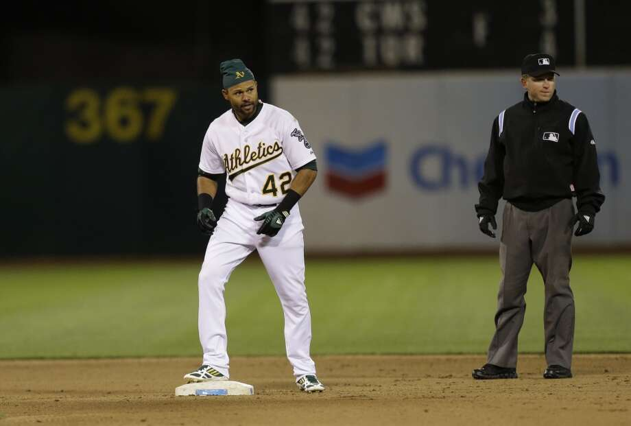 Coco Crisp after hitting a double. Photo: Ben Margot, Associated Press