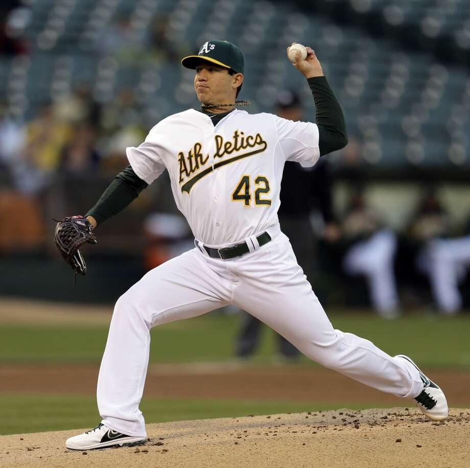 Tommy Milone works against the Astros in the first inning.