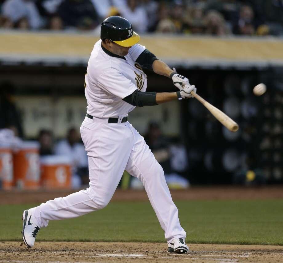 April 15: A's 11, Astros 2Nate Freiman connects for a three-run home run. Photo: Ben Margot, Associated Press