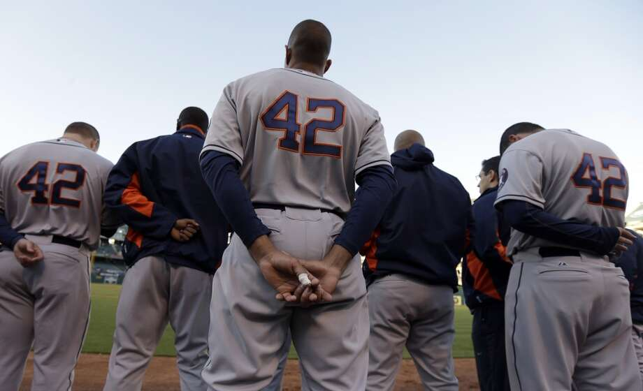 Members of the Astros wear No. 42 jersey in honor of Jackie Robinson.