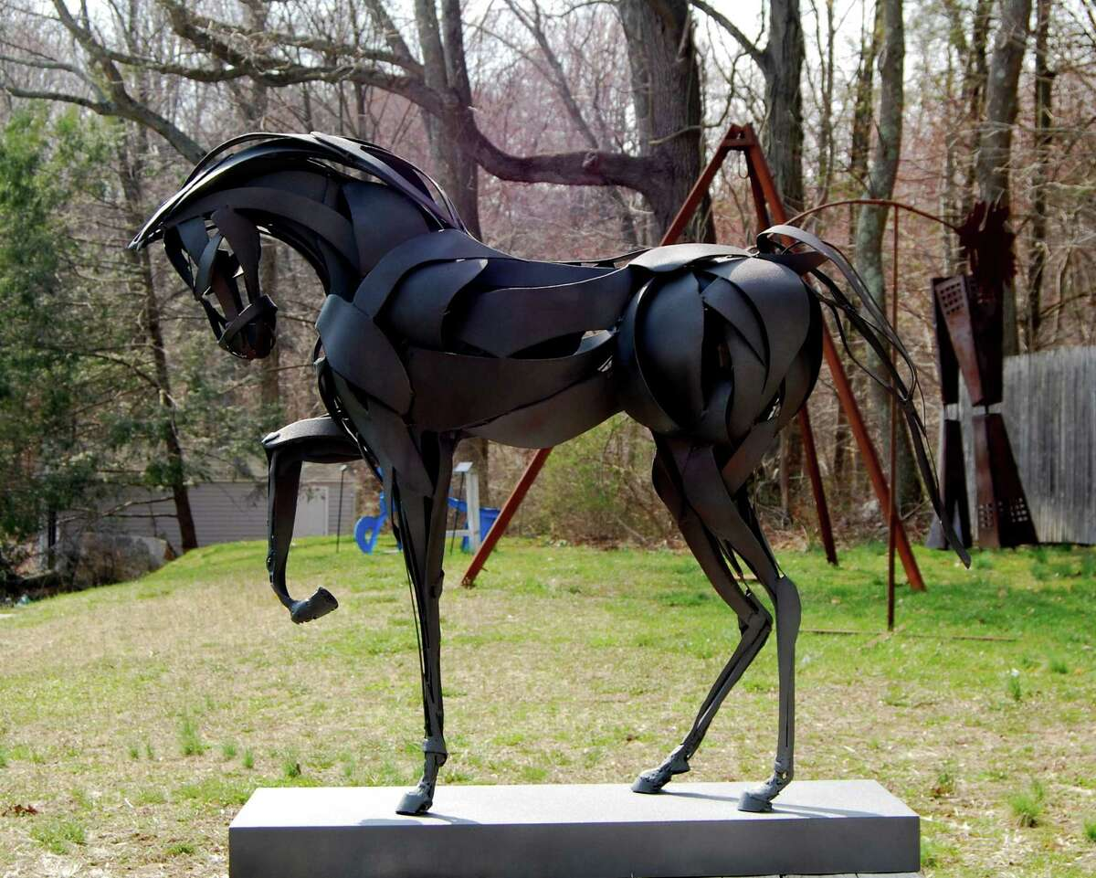 """The steel sculpture """"Second Chance"""" by Marcia Spivak won the Betty Barker Best in Show award in the juried exhibition """"Spectrum 2013"""" presented by the New Canaan Society for the Arts at the Carriage Barn. The show opens on Friday, April 26."""