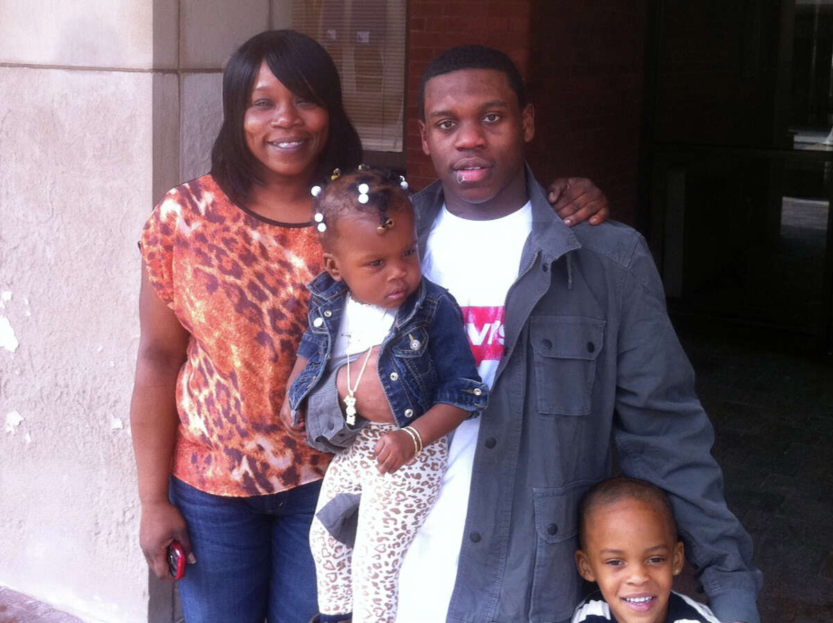 Dasheen Brown, 19, with his mother, Diane Brown, his 1-year-old niece Destiny Walker and nephew Chad James, 4, outside the state Superior Court on Main Street in Bridgeport, Conn. Dasheen Brown, who was held in prison for 20 months for a murder he maintained he didnâÄôt commit, was set free on Tuesday April 16, 2013.after a claimed eyewitness recanted his statement.