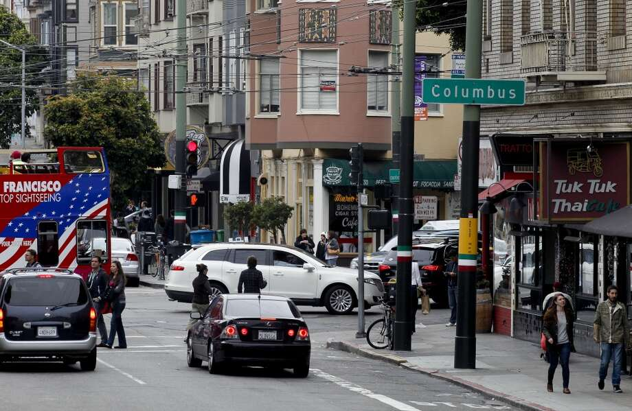 The corner of Columbus and Union Streets in the heart of the North Beach neighborhood, in San Francisco.