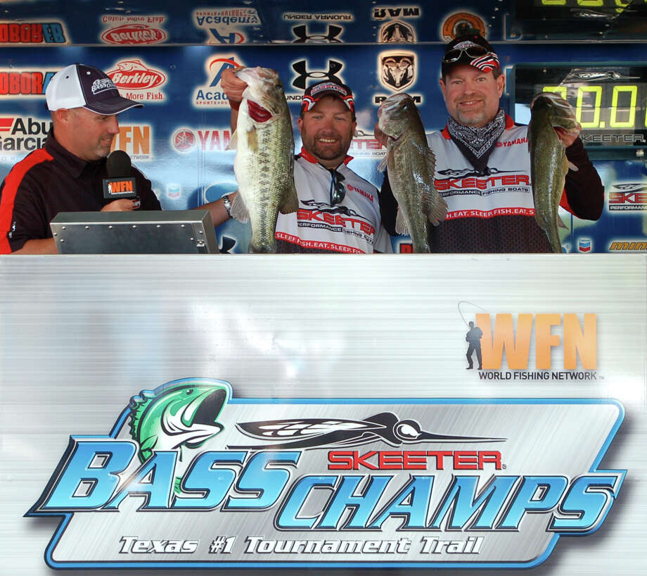 The dream became a reality when this Arkansas team of  Scotty Villines and Charles Jones caught 17.50 lbs to win the tournament and take home over $20,000  Photo by Patty Lenderman, Lakecaster