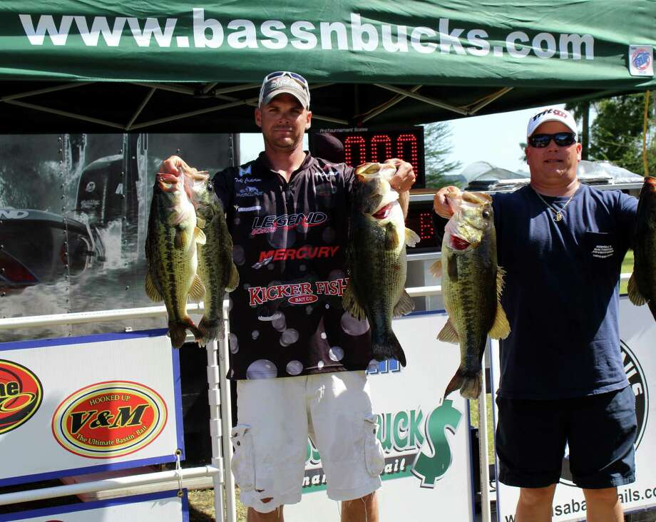 Todd Castledine and Billy Howell win with five fish and Big Bass total weight of 28.43 lbs.  Photo by Paul Hayes
