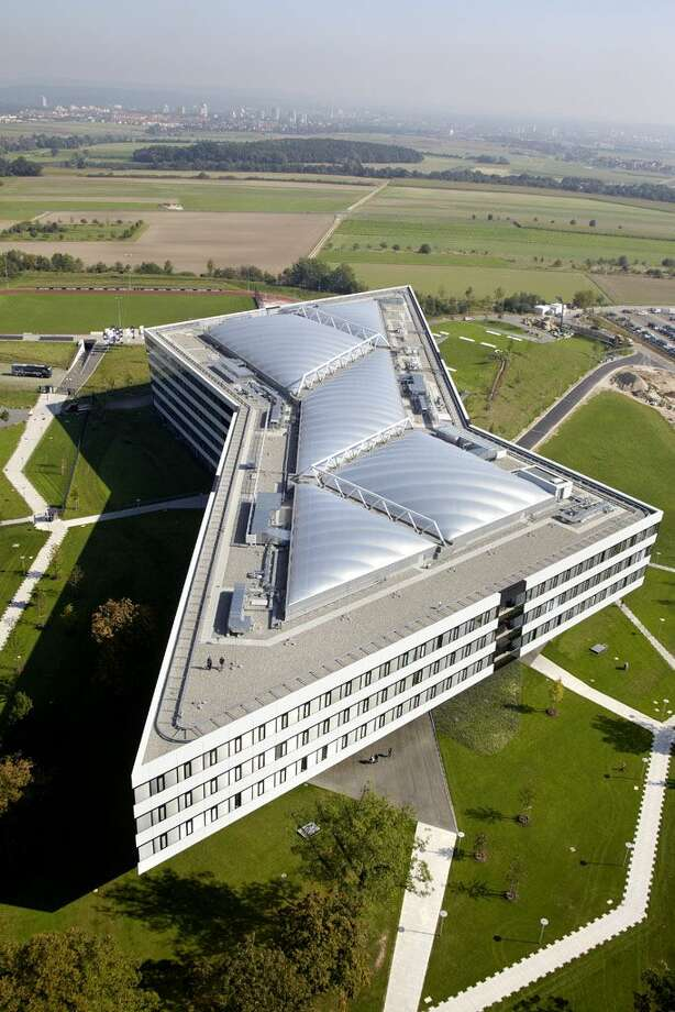 "Adidas' ""Laces""  with pathways mimicking shoe laces aside the foot print-like main building in Herzogenaurach, Germany."