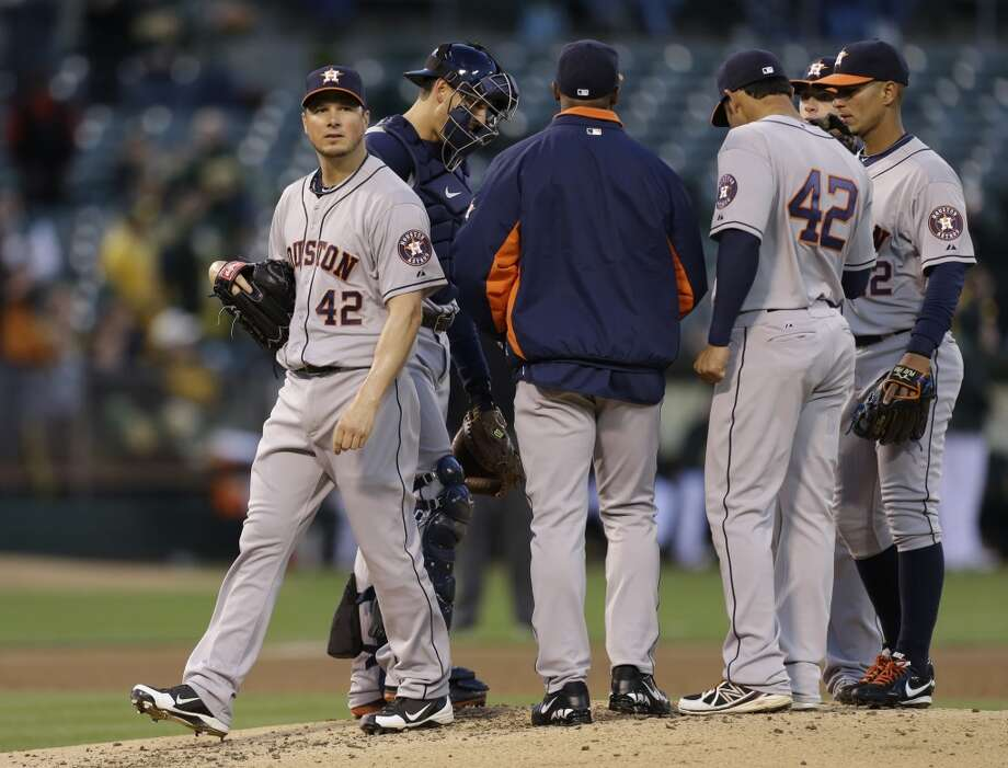 April 15: A's 11, Astros 2 Astros starter Erik Bedard lasted only one out in the first inning - while giving up six runs - before being pulled against the A's.  Record: 4-9. Photo: Ben Margot, Associated Press