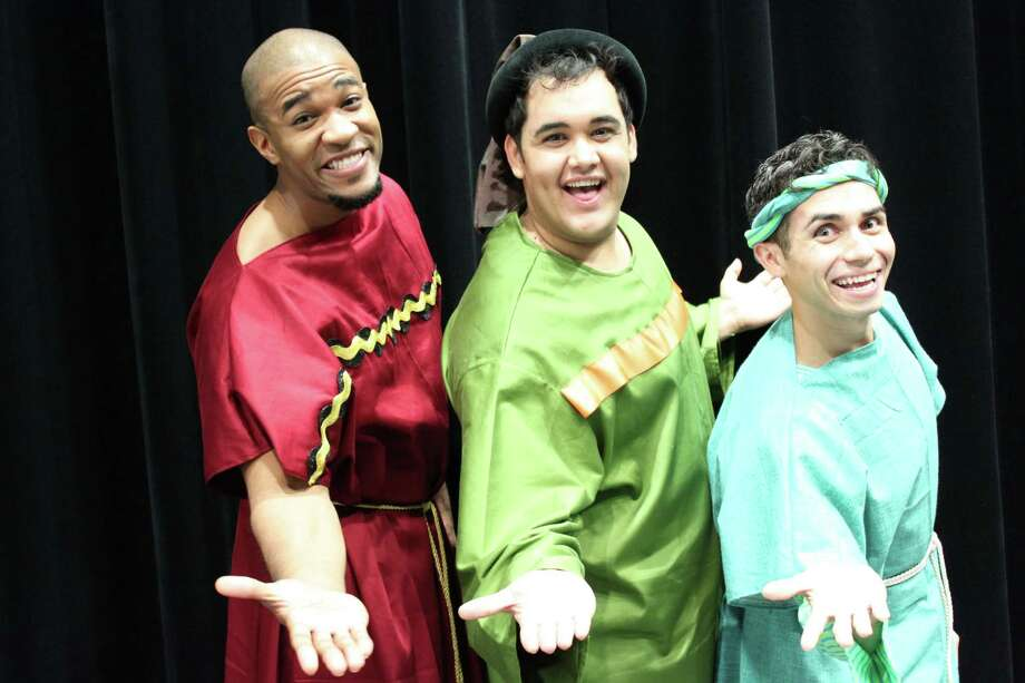 "Keith Berry (from left), Gerardo Vallejo and Rick Sanchez appear in ""A Funny Thing Happened on the Way to the Forum,"" a co-production of Allegro Stage Company and Northwest Vista College. Photo: Courtesy Mellissa Marlowe"