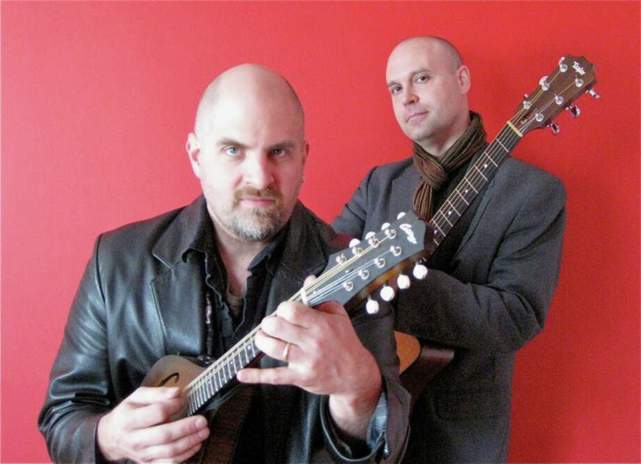 Musicians from the duo known as Prester John, shown here, are among the performers who will entertain at Gerosa Records on Record Store Day, Saturday, April 20, in Brookfield. The duo includes guitarist Shawn Persinger and David  Miller on mandolin and harmony vocals. Photo: Contributed Photo