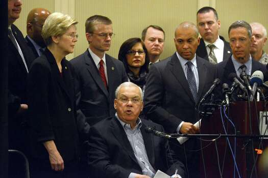 Boston Mayor Thomas Menino speaks at a press conference surrounded by State and Federal officials including (L to R) U.S. Senator Elizabeth Warren, FBI Special Agent in Charge Richard DesLauriers, U.S. Attorney Carmen Ortiz, Governor Deval Patrick, and U.S. Congressman Stephen Lynch April 16, 2013 at the Westin Copley in Boston, Massachusetts. Security is tight in the City of Boston following yesterday's two bomb explosions at the finish of the Boston Marathon, that killed three people and wounding hundreds more. Photo: Darren McCollester, Getty Images / 2013 Getty Images
