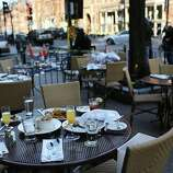 The unfinished meals of fleeing customers are left on tables at an outdoor restaurant near the scene of a twin bombing at the Boston Marathon on April 16, 2013 in Boston, Massachusetts. The twin bombings, which occurred near the marathon finish line, resulted in the deaths of three people while hospitalizing at least 128. The bombings at the 116-year-old Boston race, resulted in heightened security across the nation with cancellations of many professional sporting events as authorities search for a motive to the violence.