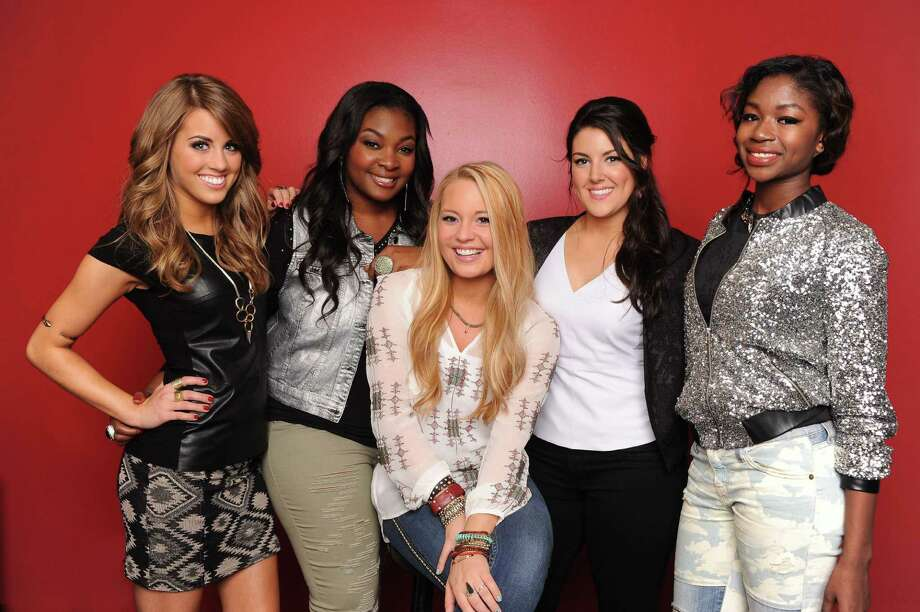 """Idol's"" top five are Angie Miller (from left), Candice Glover, Janelle Arthur, Kree Harrison and Amber Holcomb. Photo: Fox"