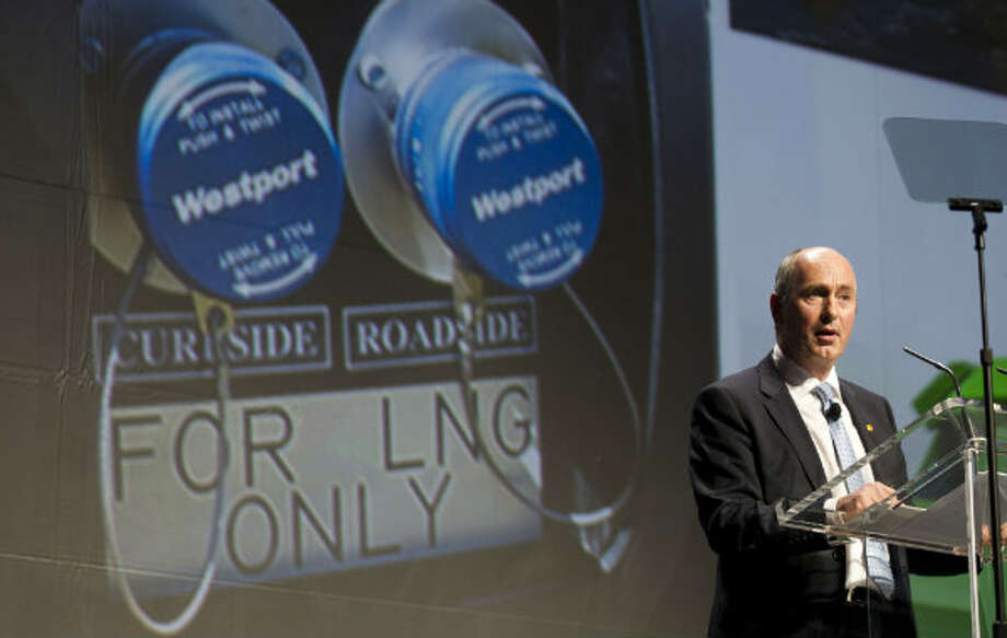 Andy Brown, upstream international director for Shell, speaks during 17th International Conference & Exhibition on Liquefied Natural Gas at the George R. Brown Convention Center Tuesday, April 16, 2013, in Houston. Photo: Brett Coomer, Houston Chronicle
