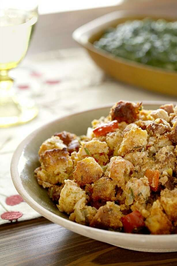 Redbook recipe for Crawfish and Andouille Cornbread Dressing. Photo: Frances Janisch
