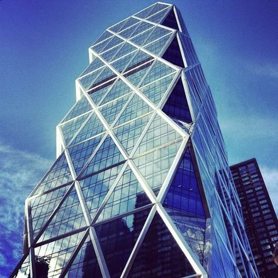 Interesting views of the magnificent Hearst Tower are featured in film.
