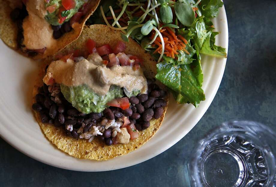 The I Am Transformed vegan tacos at Cafe Gratitude in Santa Cruz is noted for its vegan cuisine. Photo: Preston Gannaway, Special To The Chronicle