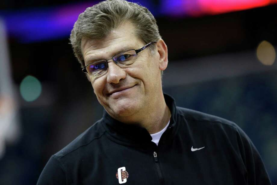 Connecticut head coach Geno Auriemma smiles during practice at the Women's Final Four of the NCAA college basketball tournament, Saturday, April 6, 2013, in New Orleans.  UConn plays Notre Dame in a semifinal game on Sunday. (AP Photo/Dave Martin) Photo: Dave Martin, Associated Press / AP