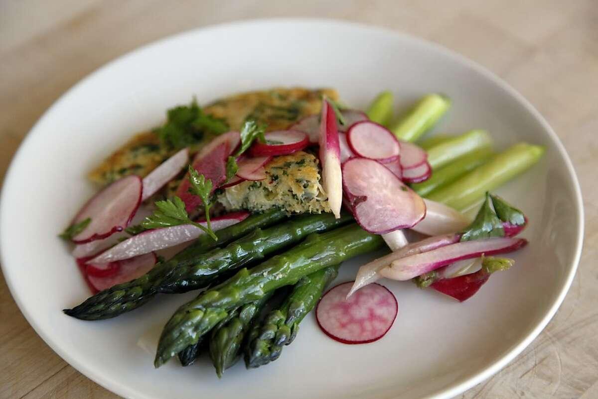 The Dungeness crab frittata with asparagus and radish salad at Bantam restaurant in Santa Cruz, Calif., on Friday, April 12, 2013.