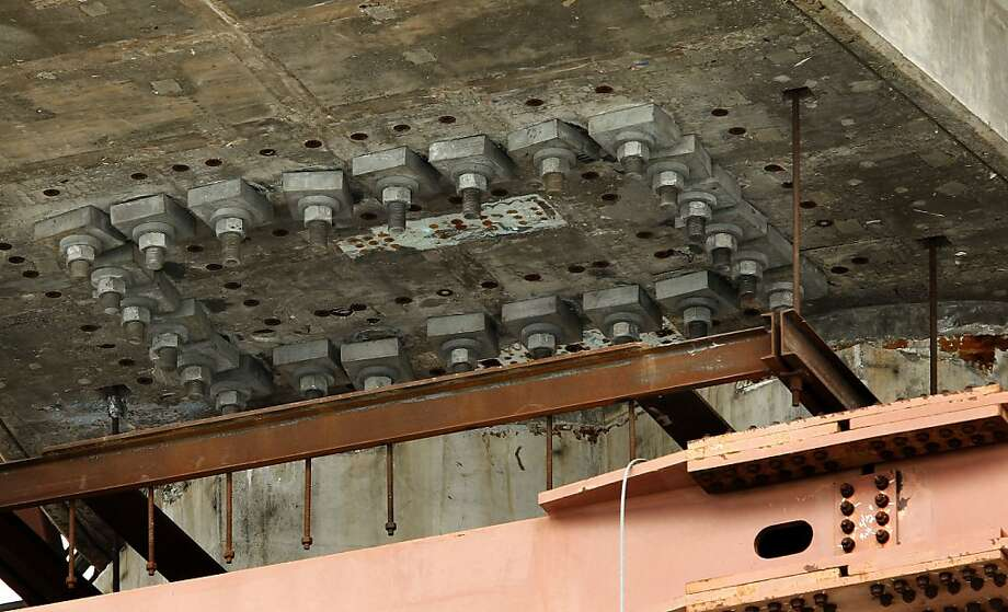 Pier E-2 of the eastern section of the new Bay Bridge contains the bolts that broke. Photo: Michael Macor, The Chronicle