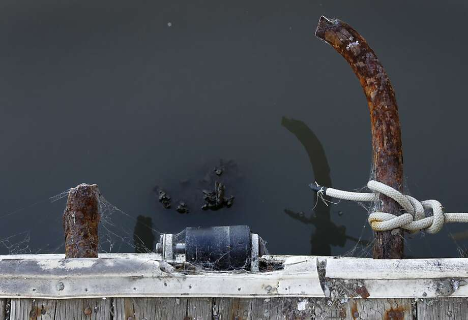 The base of a broken piling is submerged next to the damaged pier. Photo: Paul Chinn, The Chronicle