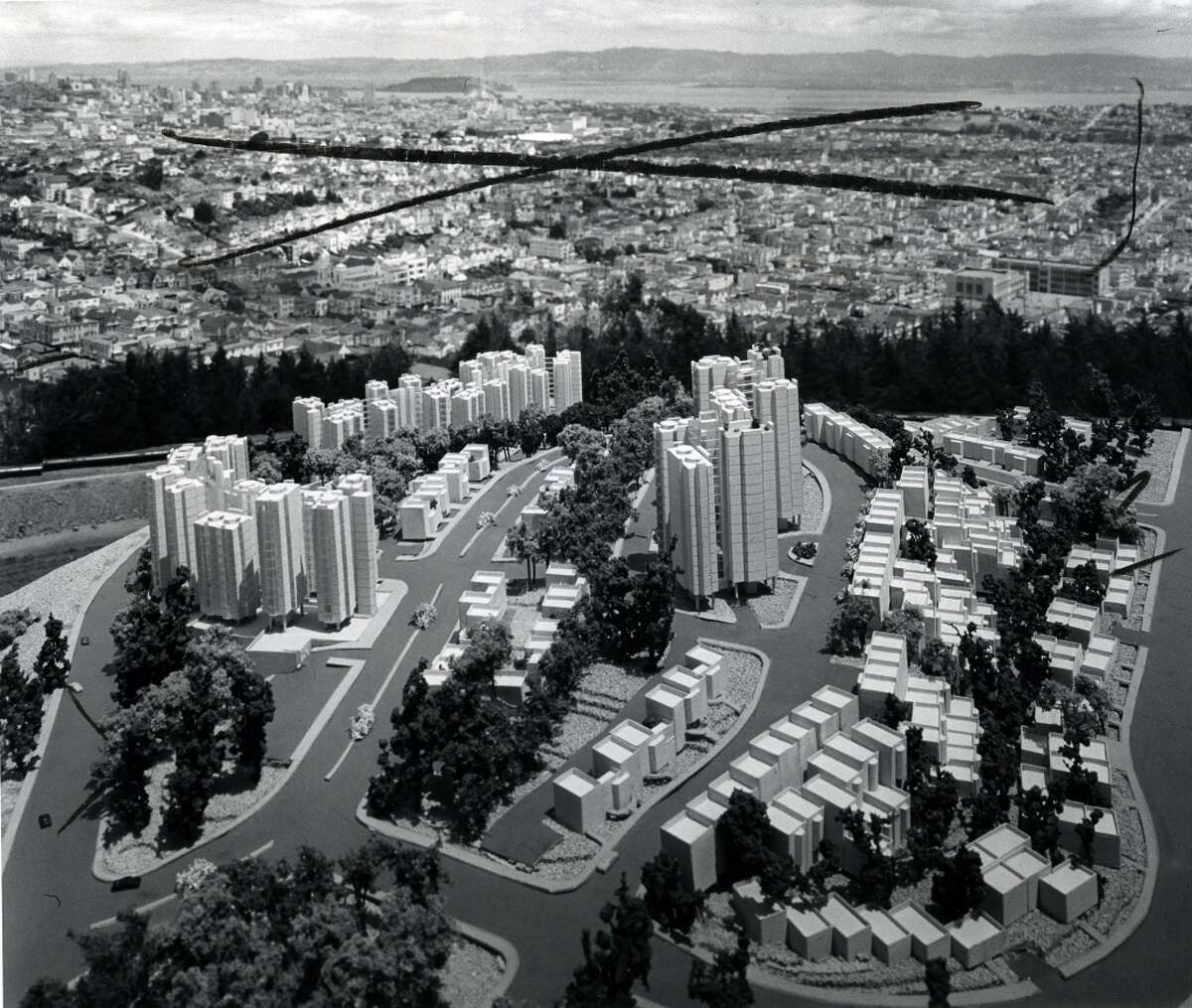 A model of Red Rock Hill in Diamond Heights, circa 1961.