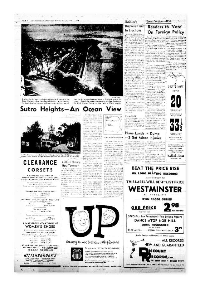 ""\""""Hills of San Francisco"""" series on Sutro Heights from Jan. 20, 1958. Photo: Chronicle File""640|920|?|en|2|ec399adac364f676e46df48879b0c0a4|False|UNLIKELY|0.28554975986480713