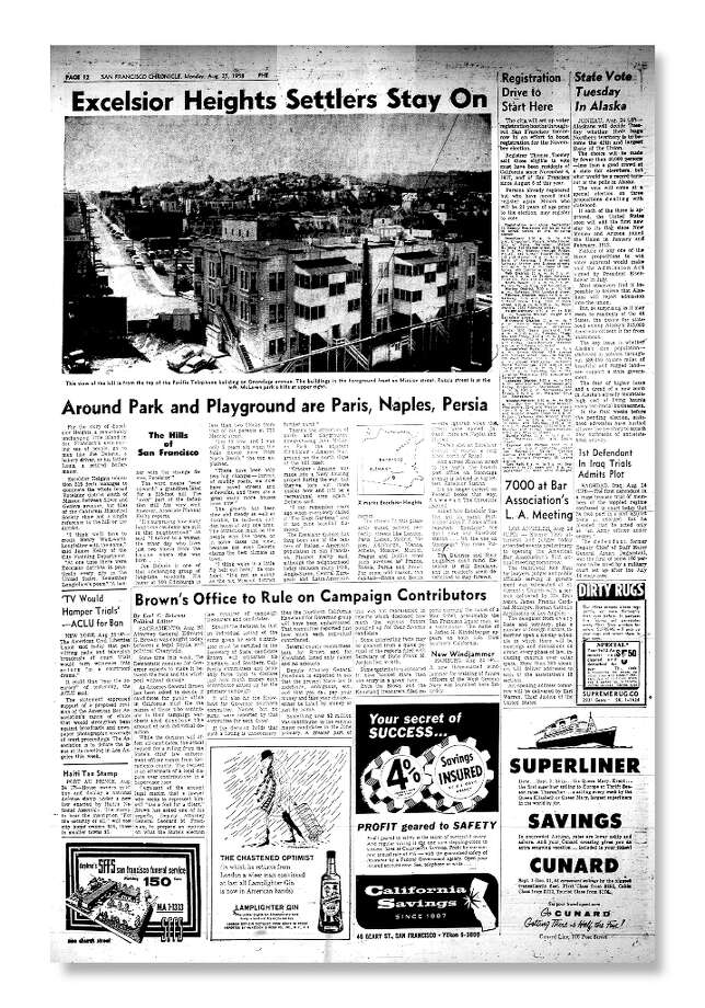Chronicle story on Excelsior Heights from Aug. 25, 1958. Photo: Chronicle File