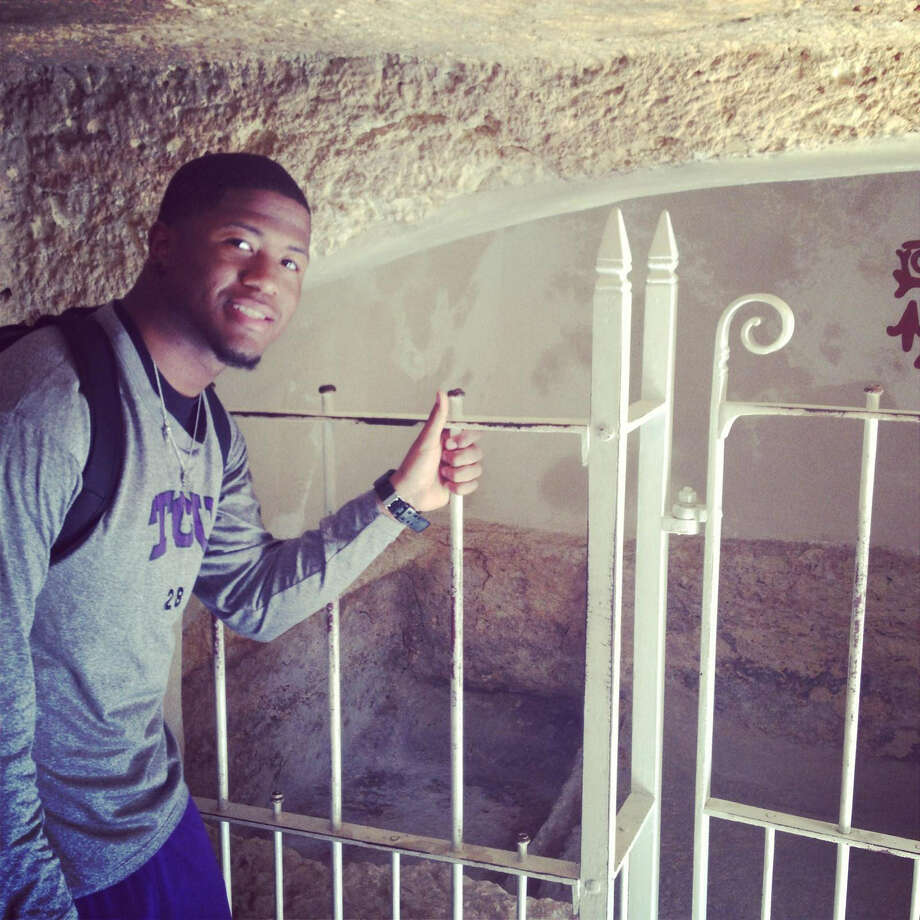 TCU running back and Madison grad Aaron Green visited Israel's Tomb of Christ in March while on a trip to the Holy Land sponsored by the Fellowship of Christian Athletes. Photo: Courtesy Photo