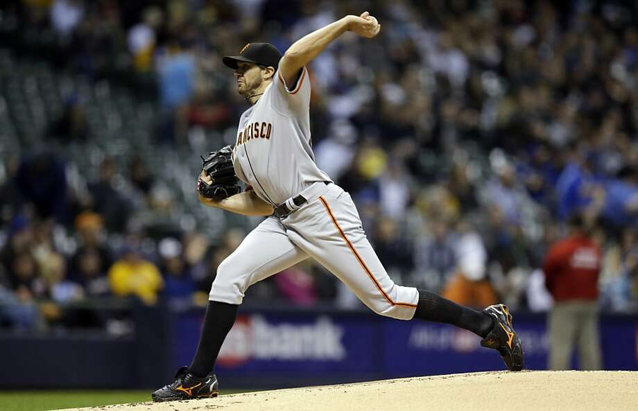 San Francisco Giants starting pitcher Barry Zito throws during the first inning of a baseball game against the Milwaukee Brewers Tuesday, April 16, 2013, in Milwaukee. (AP Photo/Morry Gash) Photo: Morry Gash, Associated Press