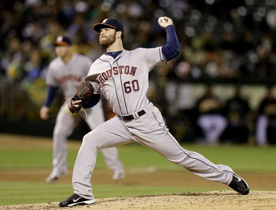 Dallas Keuchel works against the Athletics in the fifth inning. Photo: Ben Margot, Associated Press