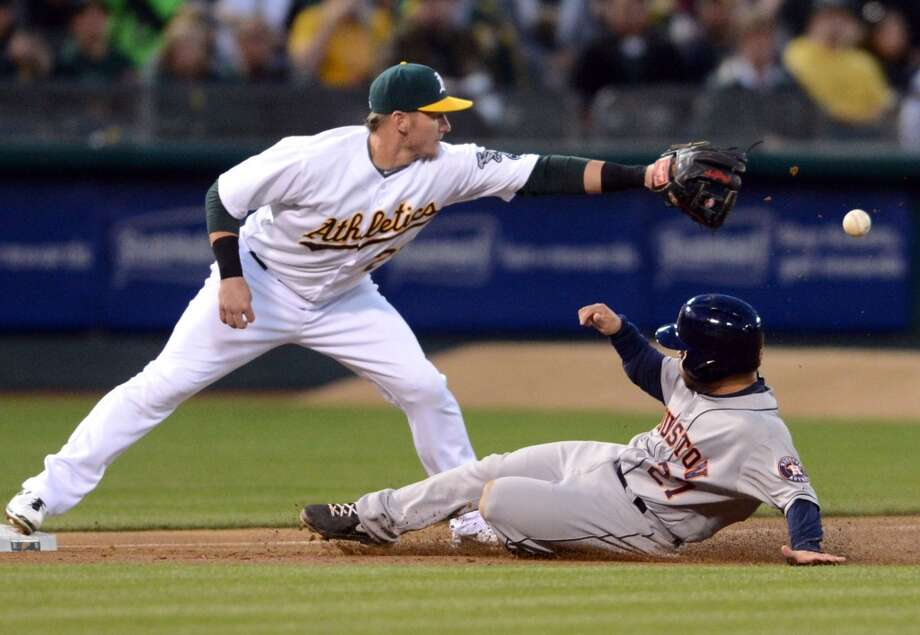 Josh Donaldson (20) waits for the throw as Jose Altuve (27) slides safely into third base in the third inning.