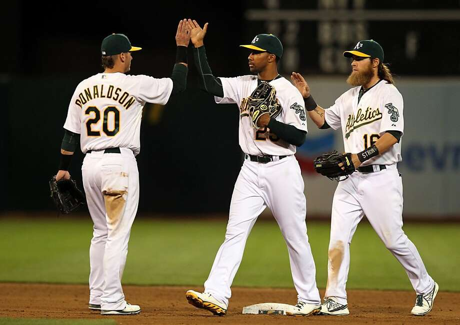 Oakland Athletics Josh Donaldson, Chris Young and Josh Reddick celebrate their 4-3 win over the Houston Astros Tuesday, April 16, 2013 in Oakland, Calif. Photo: Lance Iversen, The Chronicle