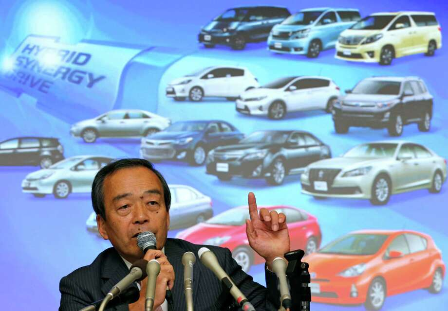 Takeshi Uchiyamada, vice chairman of Toyota Motor Corp., speaks during a press conference at its headquarters in Tokyo, Wednesday, April 17, 2013. Toyota's global sales of gasoline-electric hybrid vehicles have surpassed 5 million in a milestone for a technology that was initially greeted with skepticism. The Japanese automaker, which said Wednesday it had sold 5.125 million hybrid vehicles as of the end of March, started selling the Prius, the world's first mass produced hybrid passenger car, in 1997. Photo: Shuji Kajiyama