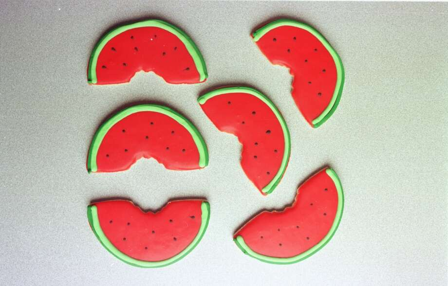 Paulie\'s iced watermelon cookies.