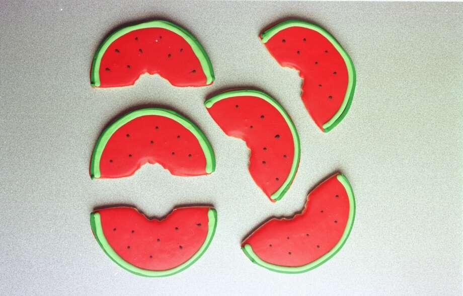 Paulie\'s iced watermelon cookies.