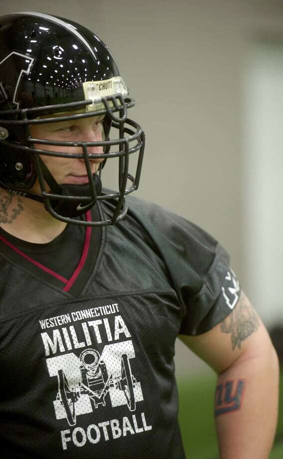 Defensive tackle Mike Swartz during the Western Connecticut Militia football team practice at Newtown Youth Academy on Tuesday April 16th, 2013. Photo: H John Voorhees III