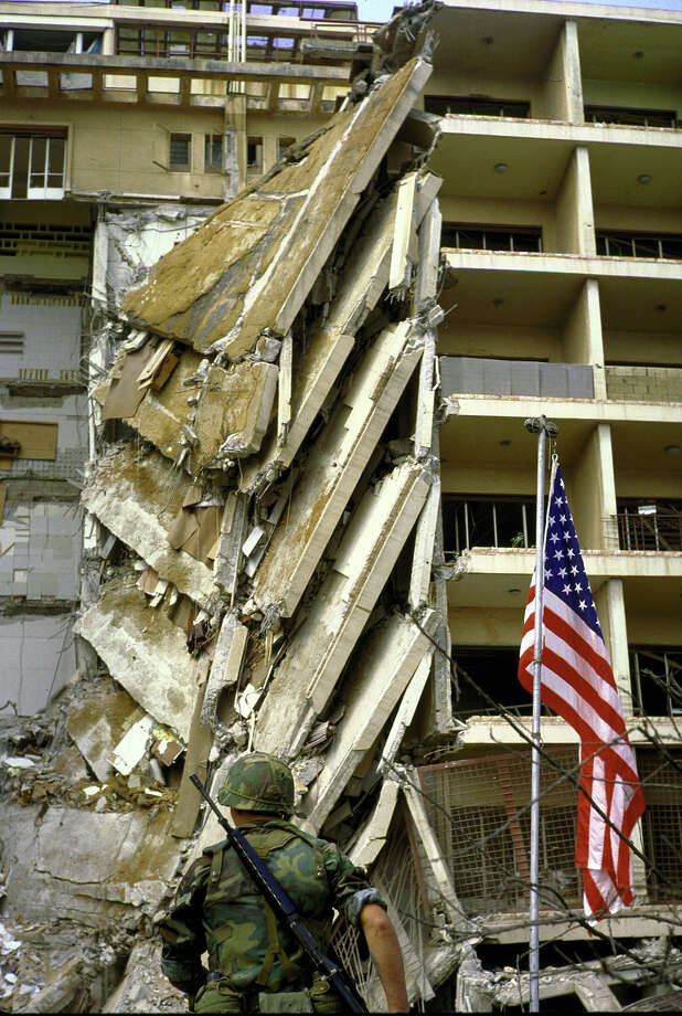 A marine guarding heavily damaged US Embassy bldg. in Beirut after the 1983 bombing. Photo: Bill Pierce, Time & Life Pictures/Getty Image / Bill Pierce